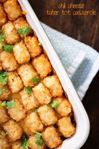 This chili cheese tater tot casserole is what dreams are made of! Ready in less than an hour and a total kid pleaser!