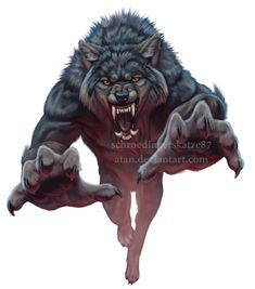 Jumping Werewolf BY Atan on Deviantart Creatures Of The Night, Magical Creatures, Fantasy Wolf, Fantasy Art, Werewolf Art, Werewolf Drawings, Werewolf Teeth, Wolf Warriors, Vampires And Werewolves