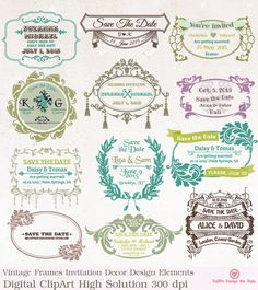 Flourish Wedding Digital Clipart Frame Clipart Invitation clipart Bridal Shower Decorations Elements Commercial use P751 INSTANT DOWNLOAD by DesignbySiya on Etsy