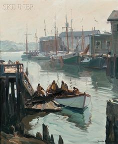 """""""Morning, Gloucester,"""" Emile Albert Gruppé, 1950, oil on canvas, 30 x 25"""", private collection."""