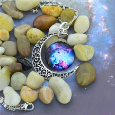 Brand Fashion Jewelry Choker pendant Necklace, Glass Galaxy Lovely Silver Chain Moon Necklace,collar de luna colgante de plata-in Chain Necklaces from Jewelry on Aliexpress.com   Alibaba Group