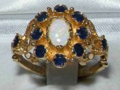 Unusual Solid 9K Gold Natural Opal & Sapphire Ring with English Hallmarks