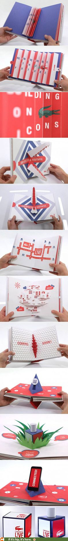 Graphic design Lacoste Paper Art Pop-Up Book created for the launch of their new men's fragrance LIVE! Pop Book, Buch Design, Paper Engineering, Brochure Design Inspiration, Publication Design, Design Graphique, Book Projects, Handmade Books, Pop Up Cards