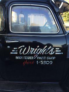My shop truck door art