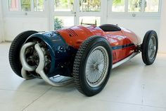 """""""Built by Augusto Monaco and Carlo Felice Trossi, the 1935 Monaco Trossi is a front engined beast designed to race in Grand Prix, but due to terrifying driving dynamics never did. The engine is an eight bank, 16-cylinder radial air-cooled 2-cycle, 3982cc engine with two Zoller superchargers. The whole shebang was good for 250 HP at 6000 rpm and powered the front wheels."""""""