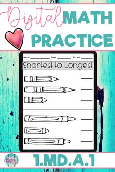 These math practice sheets allow your students to practice and gain mastery of the first grade standard 1.MD.A.1; Order Objects by Length and Use a Third Object to Measure. Created in Google Slides, this resource can be used in the classroom or at home for distance learning. These worksheets can also be used as an assessment tool so that you can move your instruction forward, tailor your students' instruction to their developmental level, provide feedback, and use for grading. Click to see more!