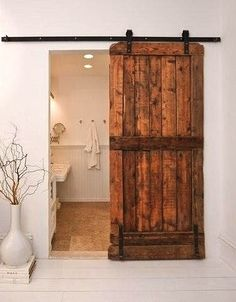 repurposed barn door for kids bathroom door