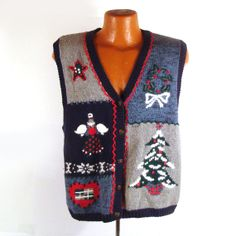 Ugly Christmas Sweater Vintage Cardigan by purevintageclothing Holiday Tacky Party