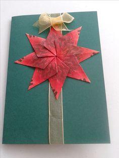 Donkergroene kerstkaart met rode ster en gouden lint, origami / theezakjes vouwen kaart / teabag folding card