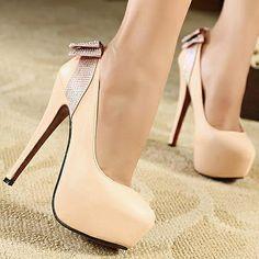 Fashion Round Closed Toe Back Bow Tie Stiletto High Heels - HeelsFans.com