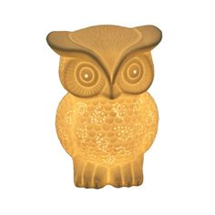 Let this friendly porcelain owl perch in your home. Once lit, the lamp emanates a warm, soft glow to illuminate your space. Your living room or bedroom would make the perfect home for him.  Find the White Owl Lamp, as seen in the The Wonderfully Weird 70s Collection at http://dotandbo.com/collections/the-wonderfully-weird-70s?utm_source=pinterest&utm_medium=organic&db_sku=SML0001-owl