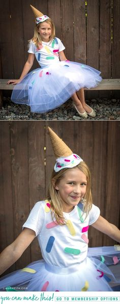 DIY Ice Cream Cone Costume for Halloween - Lia Griffith DIY Ice Cream Cone Costume! Homemade Halloween costumes are always a great idea, and they're a great way to save money. This easy to make DIY costume is great for kids but could be for an adult too! Couples Halloween, Diy Halloween Costumes For Kids, Kids Costumes Girls, Easy Halloween, Costume For Kids, Easy Costumes To Make, Meme Costume, Ice Cream Costume, Costume D'halloween Fille