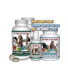 "powerful Dried and Ground Soybean Sprouts as a regular daily feed additive for pets.  This uniquely balanced ""Superfood Protein Formula"" helps to deliver natural enzyme activity and supports healthy cells by providing natural free radical reduction.* NZYMES® ""LIVE"" formula is designed to help replenish important enzymes lacking in today's diets of over-cooked and processed foods."