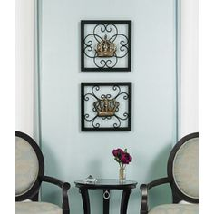 Set Of 2 King And Queen Crown Metal Wall Decor