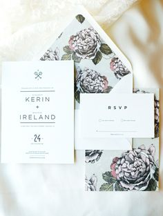 Purple Flower Envelope Liners | photography by http://www.claryphoto.com