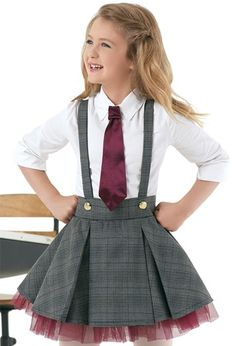 Cotton Shirt And Plaid Jumper Dance Outfits, Kids Outfits, Cute Outfits, Little Girl Dresses, Girls Dresses, Cute Fashion, Kids Fashion, Dance Costumes, Dance Wear