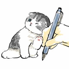 Cute Animal Drawings, Cute Drawings, Cat Drawing Tutorial, Kittens And Puppies, Cats And Kittens, Cat City, Cute Little Animals, Cute Illustration, Puppy Drawing