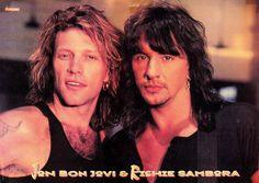 Jon Bon Jovi & Richie Sambora circa 1994/1995. @johnnyshairsalon, Tumblr.