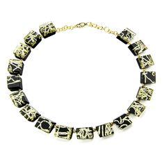 Rechteck-Kette in Schwarz mit bandartigem Goldtextur-Einschluss * Necklace Black Acrylic with Goldtexture inside * www.pyramonte.de