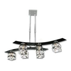 Lámpara moderna color negro seis luces cristales detallados