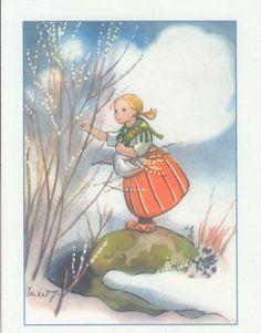 Vintage Christmas Cards, Christmas Art, Spring Images, Fairytale Art, Vintage Easter, Winter Scenes, Vintage Pictures, Illustrations Posters, Vintage Art