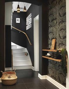 Love this dark colour paired with the white trim + shallow shelves + white ceiling + black light fixture