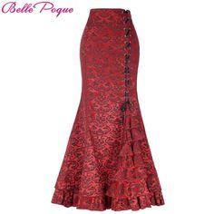 Belle Poque Vintage Skirt Retro Gothic Saia Jacquard Sexy Fishtail Slim Corset Style Lace Up