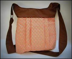 Chevron Bag in Caramel and Brown / purse / crossover shoudler bag / messanger bag on Etsy, $47.50