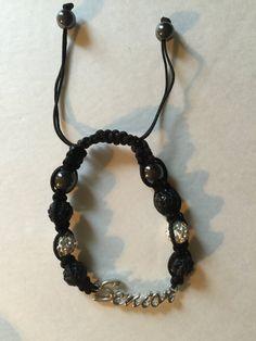 Handmade 'Senior' class bracelet Crystals Hematite beads Silver Black