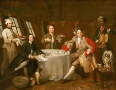 "Check out the cheeky bewigged dog | Captain Lord George Graham (1715–1747), in His Cabin | William Hogarth  Date painted: c.1745  Collection: National Maritime Museum  ""Cabin scenes are rare in oil painting and this is the most famous example in British art. This conversation piece was probably commissioned by the sitter, the youngest son of the first Duke of Montrose, to celebrate his action off Ostend in June 1745"""