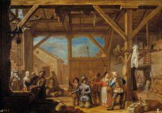 """IRIARTE, VALERO (1680 - 1741)   """"Don Quijote armado caballero"""" ( ca 1720) La escena describe, con claro sabor costumbrista, un pasaje extraído del Quijote de Miguel de Cervantes (1547-1616). En ella, el protagonista, con armadura, espera de rodillas el momento de ser investido caballero; a su alrededor reina un ambiente popular y gracioso, alejado de la brillantez protocolaria que tal anécdota debía implicar."""