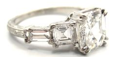 Exquisite Art Deco Era Platinum and 1.90 Carat Asscher Cut Diamond Engagement Ring GIA G/VS1 | From a unique collection of vintage engagement rings at http://www.1stdibs.com/jewelry/rings/engagement-rings/