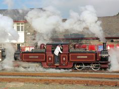 """""""How lovely, reminding us a little of Summertime past. Merddin Emrys at Porthmadog Harbour Station Bore Da. Diesel, Heritage Railway, Old Steam Train, Electric, Steam Railway, Snowdonia, Steam Engine, Steam Locomotive, Water Tank"""