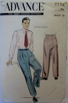 Advance 7756 Mens 50s Cuffed Slacks or Dress Pants by Denisecraft, $7.99