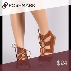 🆕 Suede Lace Up Sandals 🆕This stylish gladiator sandal features an open toe silhouette, strappy cutout design with lace up closure and lightly cushioned insole for comfort.  -Color: Chestnut -Vegan suede (man made) and rubber soles -Available in sizes 6-10 (Fits TTS) **Also available in Black ⚡️Create a BUNDLE and SAVE an ADDITIONAL 15%!!!! ⛔️Price is FIRM (no offers)⛔️  INVENTORY UPDATE: Size 8-3 left! Size 8.5-2 left! Shoes Sandals