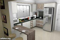 Bilderesultat for cozinha em u Kitchen Room Design, Home Decor Kitchen, Kitchen Interior, Home Kitchens, Kitchen Dining, Modern Kitchen Cabinets, Cuisines Design, Kitchen Remodel, Sweet Home