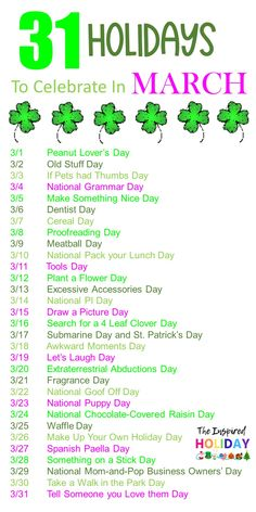 Wacky Holidays are such a fun way to celebrate each and every day. Here's a list of 31 silly and wacky holidays to celebrate in March. Look at all the fun things you can celebrate this month - National Puppy Day, Tell Someone You Love Them, Let's Laugh Day, If Pets Had Thumbs Day, Plant a Flower Day and sooooo much more! March is filled with some great days to celebrate. Don't miss a moment of fun and be sure to check out 31 wacky holidays to celebrate in March! Funny Holidays, March Holidays, Wacky Holidays, Day Celebration List, National Celebration Days, National Puppy Day, National Days, National Holidays, Holiday Day