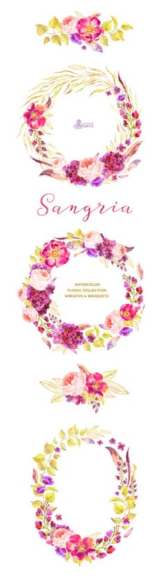 Sangria. Burgundy and gold floral Wreaths and by OctopusArtis