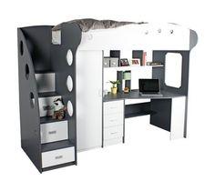 Højseng med opbevaring i trappe. Læs mere på bloggen frubruun.dk #furniture #multifunctional #furnituredesign
