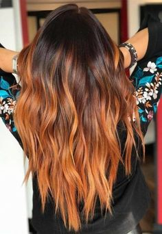 27 Fall Hair Color Trends Brick Brown Hair Colors – Chicbetter Inspiration for Modern Women 27 Fall Hair Color Trends Brick Brown Hair Colors – chic better Cabelo Ombre Hair, Red Ombre Hair, Ombre Hair Colour, Brown To Red Ombre, Hair Color Highlights, Hair Color Balayage, Bronde Balayage, Bronde Hair, Copper Balayage Brunette