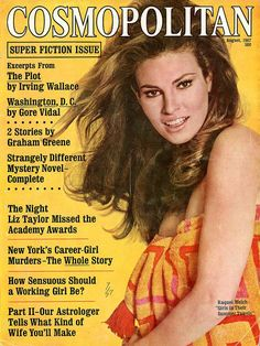 Cosmopolitan Magazine 1967  Raquel Welch on Cover  Donna Mills  Young Barbara Walters