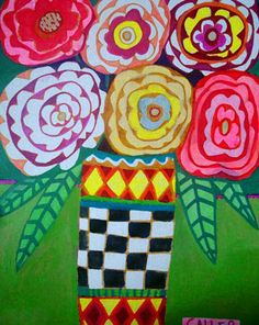 (glue and chalk pastel) Folk art- would be great for mother's day