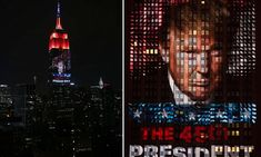 As many as 40 projectors set up three blocks away beamed Donald Trump's facade over 32 stories of the world's most iconic building, alongside the words: 'The 45th President.'