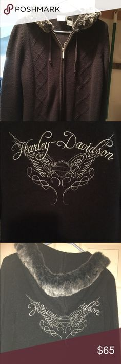 Nearly new Harley-Davidson sweater Harley-Davidson zip up sweater.  Faux fur hood, with sparkly silver lettering on sleeve and back.  GORGEOUS!!!!! Harley-Davidson Sweaters