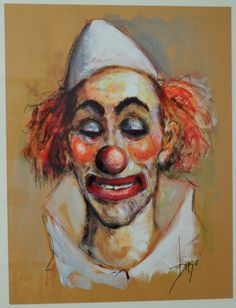"""#DiegoVoci™  #Clowns are a versatile group of characters! Here the """"Clown in White Hat"""" is drawn on brown paper - there are more! David C.bought this 15x19.5 inch drawing in Germany in 1977 at a private showing in a home of a DIEGO Collector."""