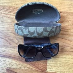 EUC Coach Sunglasses Black Coach Delphine Sunglasses with rectangular frame. Excellent Used Condition. Coach Other