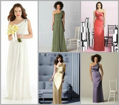 Love the one shoulder look for the bride and bridal party. After Six Bridal Dress  www.ModelBride.com