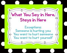 Printable sign!  Creative Elementary School Counselor: What You Say in Here Stays in Here ...