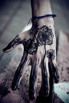 Hand tattoo, dandelion - picked you out and picked you up, hoping that my luck would change; let the summer fill my lungs, superstition fill my brain...dandelion