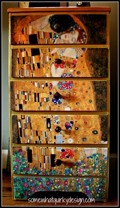 Decoupaged dresser. The Kiss. Somewhat Quirky: The Most Used Room In The House